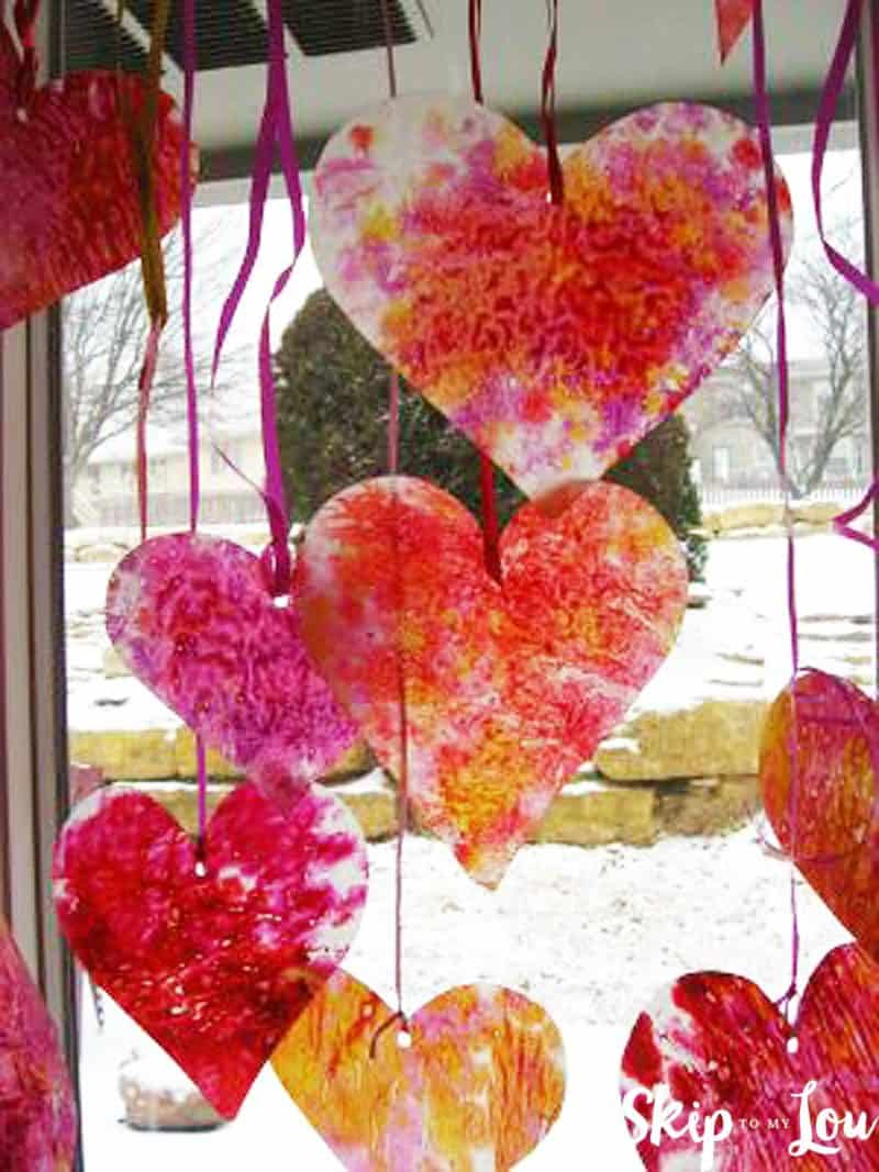 crayon shaving hearts hanging hearts in window