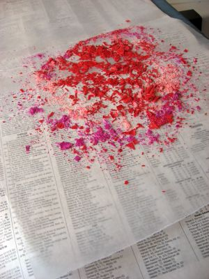 crayon shavings laying on wax paper