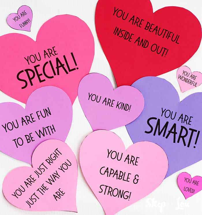 heart templates with nice sayings on them for Valentine activity