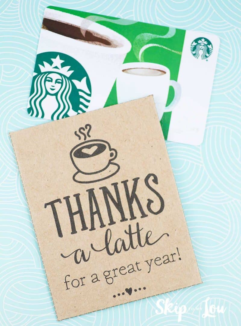 gift card holder with coffee gift card
