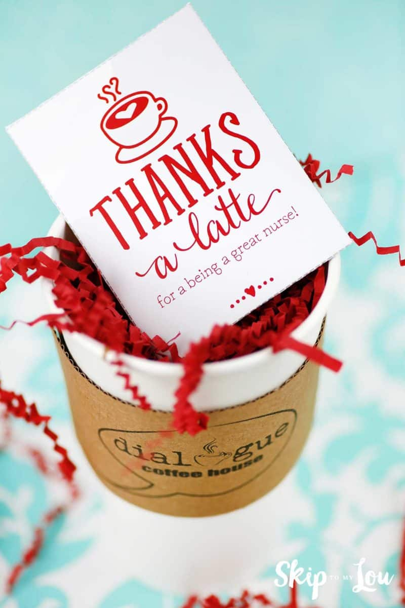 thanks a latte gift card in paper take out cup