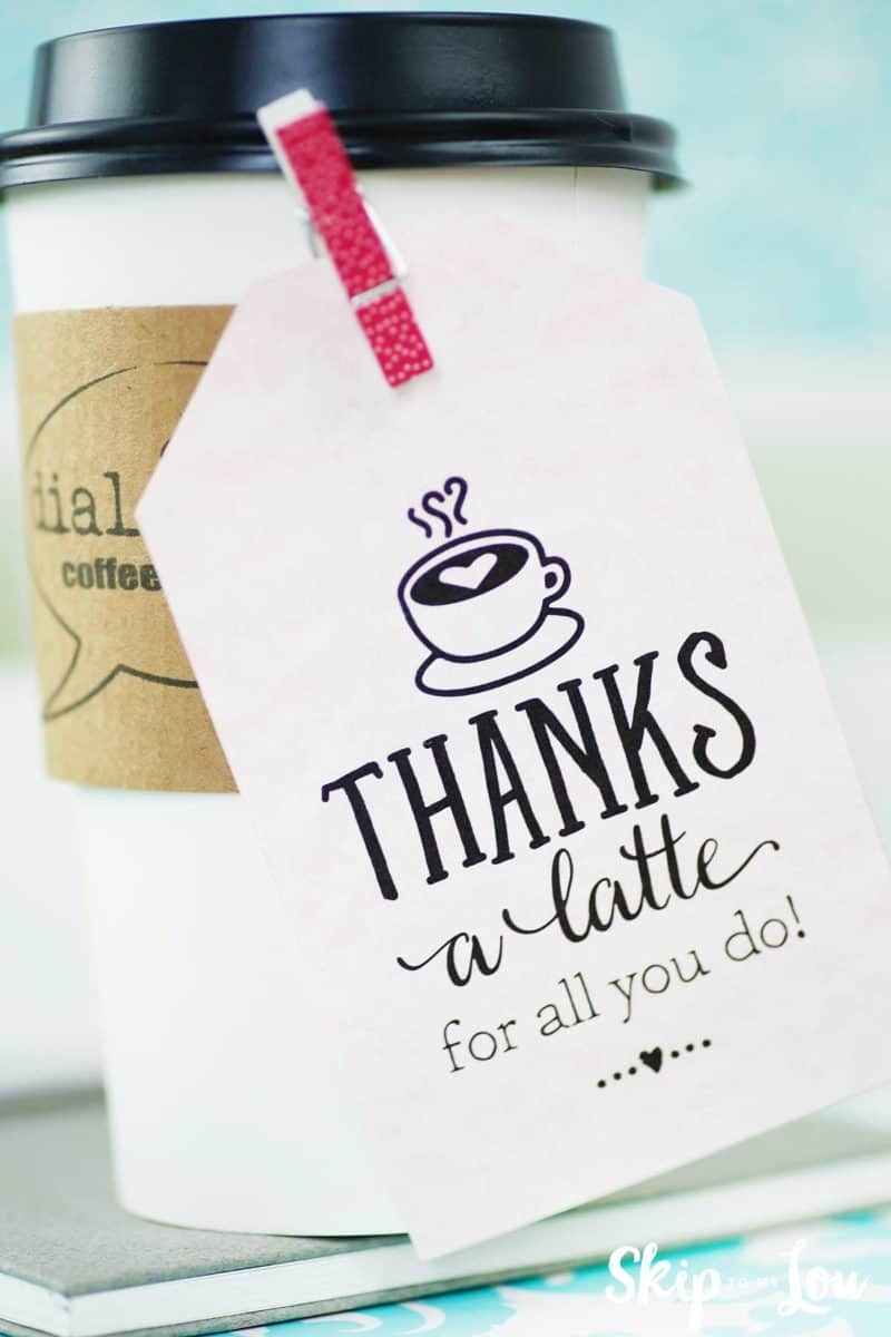 photograph relating to Thanks a Latte Printable Tag called Because of a latte! No cost Printable Reward Tags Miss out on In direction of My Lou
