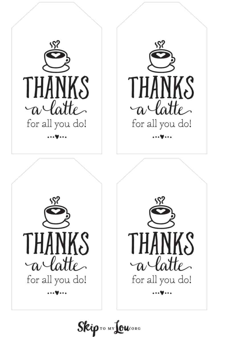 thanks latte printable