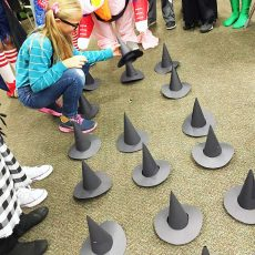 child playing Halloween memory game