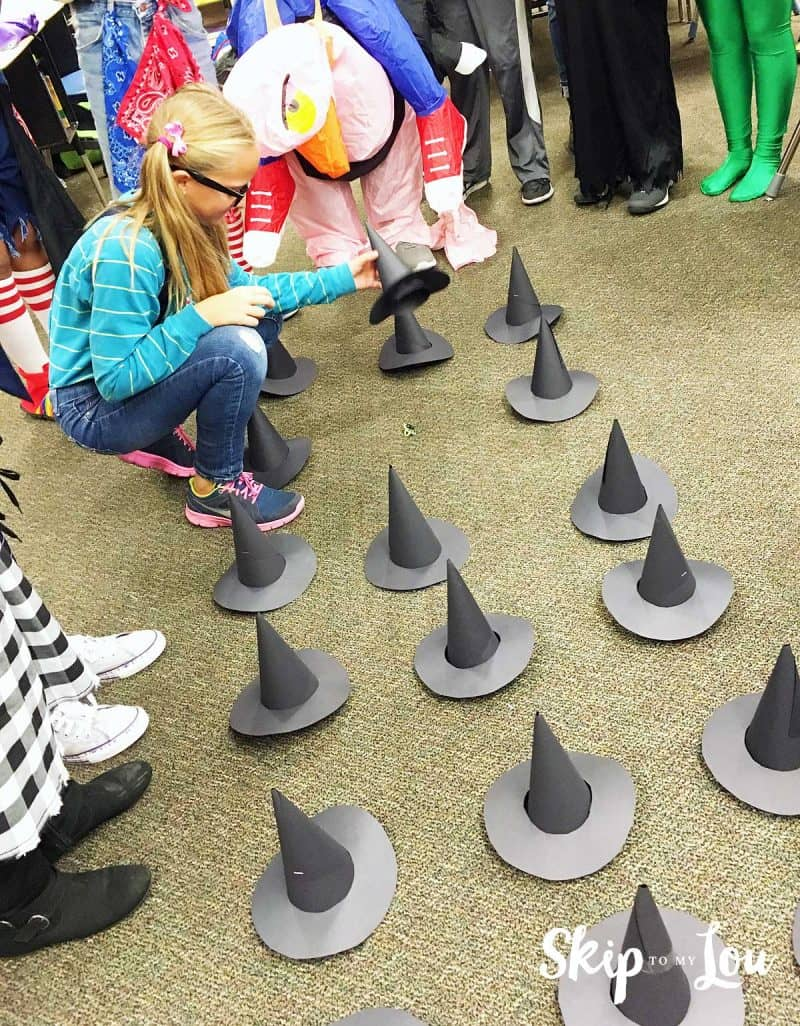 child playing Halloween party games