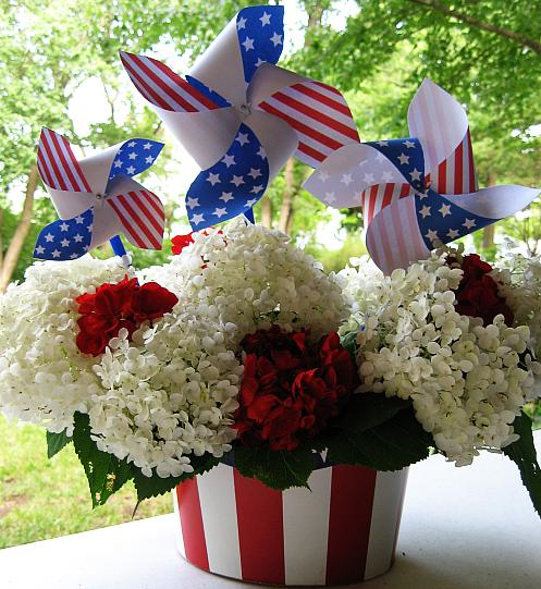 The Container Is A Cardboard Uncle Sam Hat From Party Store Filled With Hydrangeas And Patriotic Pinwheels If You Would Like Some