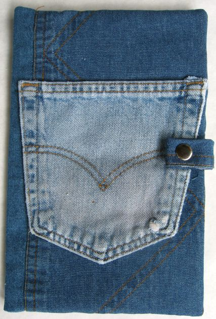 denim drawing pad pencil holder with pocket on front