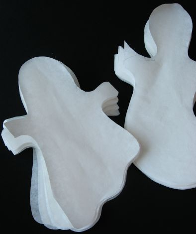 How to Make Paper Ghost Garlands for Halloween (cut ghosts) by Cindy Hopper for Alphamom.com