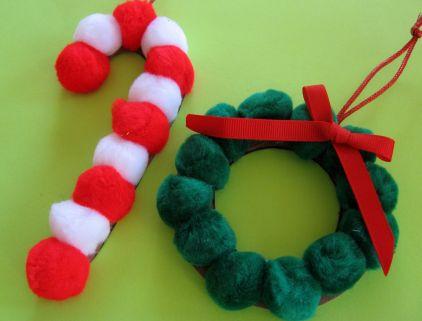 Christmas pom pom ornaments craft preschool crafts for kids for Preschool christmas ornament crafts