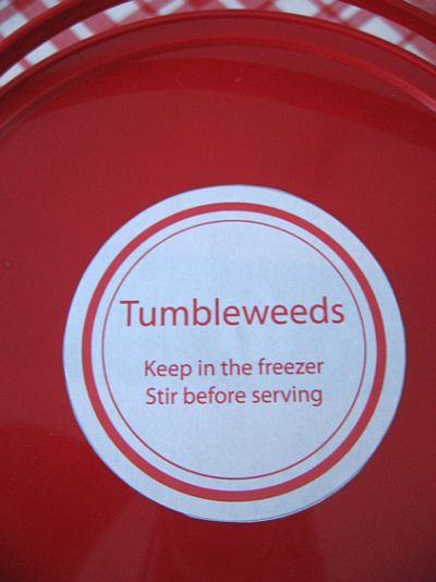 top of bucket with printable label tumbleweeds keep in freezer stir before serving