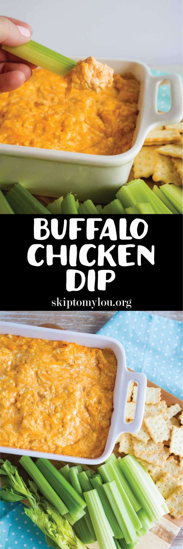 buffalo chicken dip with celery and crackers