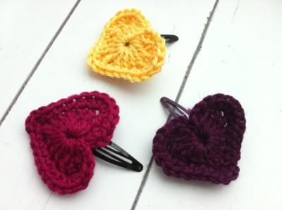 crochet heart hair clip