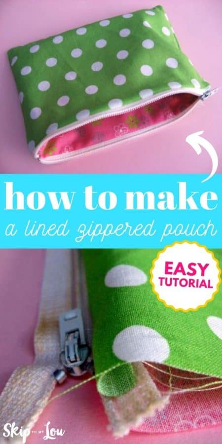 lined zippered pouch tutorial PIN