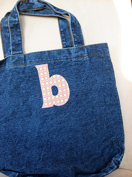 monogramed tote bag with applique