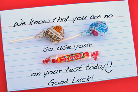 Candy-gram encouragement for kids taking tests | Skip To My Lou