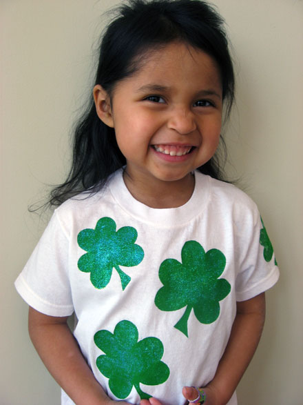 child wearing shamrock t-shirt for st. patrick's day