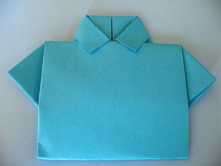 origami shirt fathers day card finished