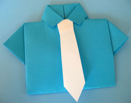 blue origami shirt with white tie