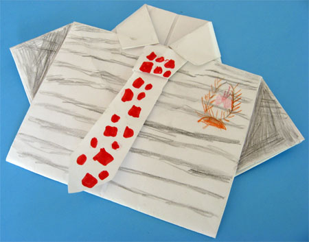 origami card for fathers day with coloring
