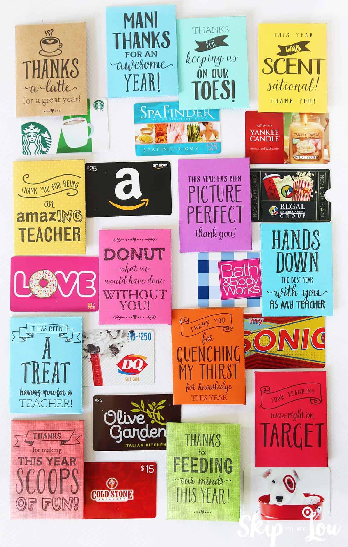 teacher gift card holders