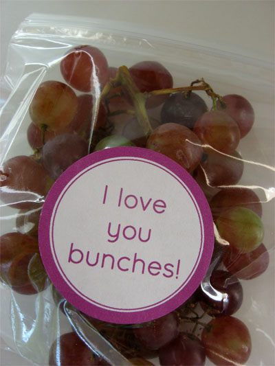 I love you bunches printable stuck to a bag of grapes