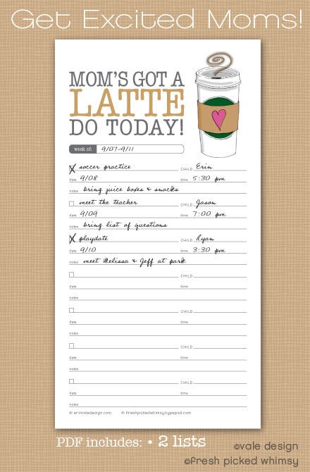 Quot Mom S Got A Latte Do Today Quot Printable List Skip To My Lou