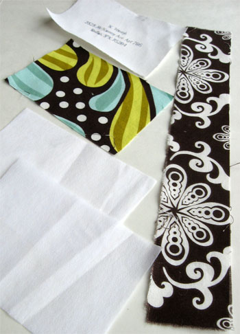 "Cut 3 1/2"" x 5"" pieces of printed fabric, decorative fabric, and two pieces of heavy weight iron on interfacing. Cut one 2"" x 12"" piece of fabric for strap."
