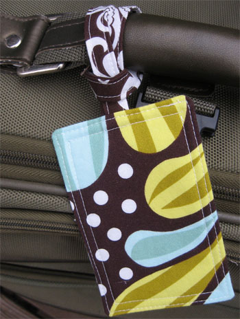 Fabric Luggage Tag attached to luggage