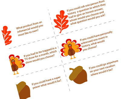 picture regarding Printable Conversation Cards named Thanksgiving Supper Communication Starters Pass up In direction of My Lou