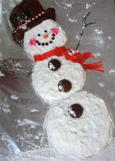 Breakfast with Santa Snowman Cake