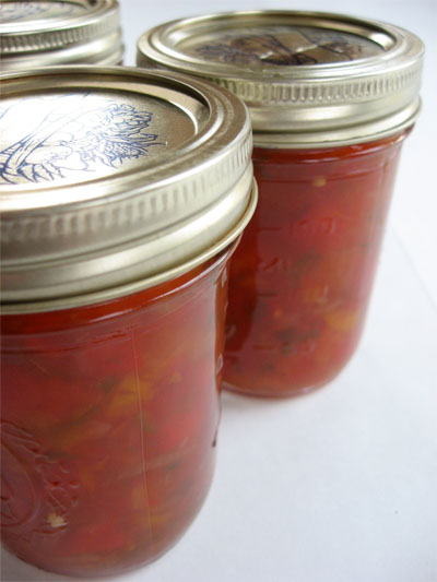 pepper relish in canning jar