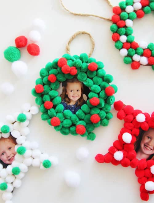 pom pom photo ornaments