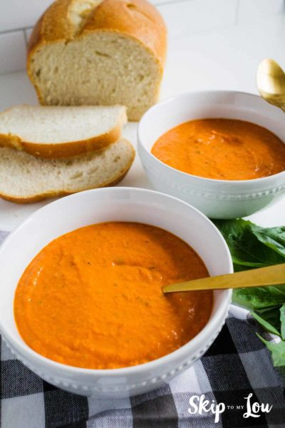 tomato soup in white bowl