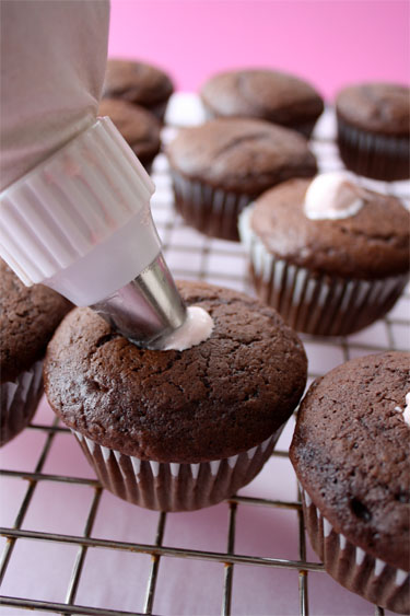 Cream Filled Chocolate Cupcakes With Chocolate Ganache