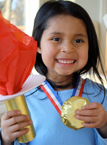 Olympic torch and Gold Medal cookie crafts