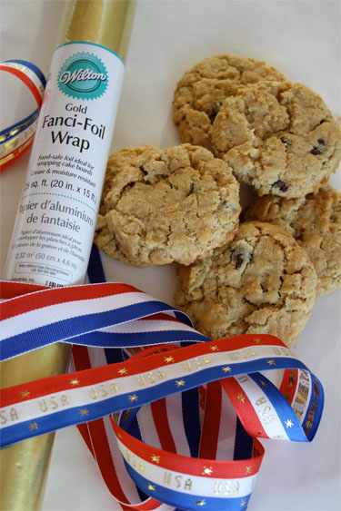 Supplies for making Olympic medal cookies