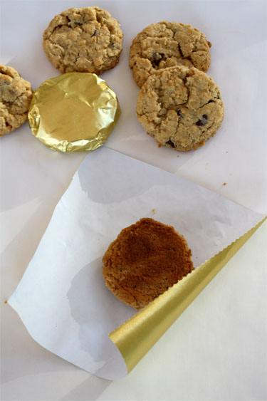 Wrapping cookies in gold foil
