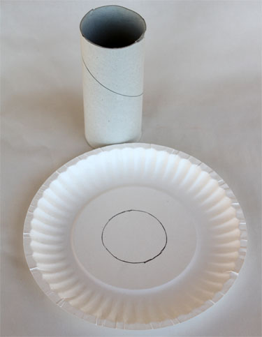 Supplies to make paper Olympic torch craft (paper roll, paper plate)
