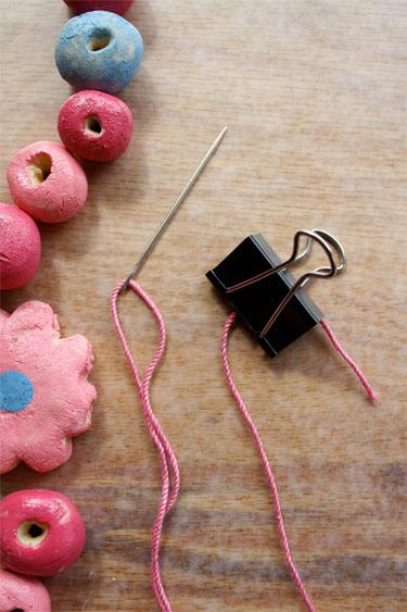 threading salt dough beads