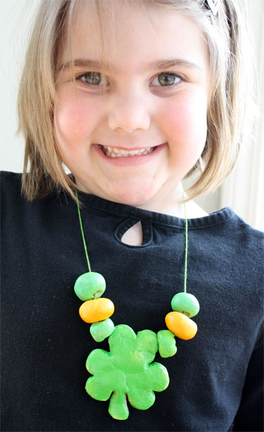 Four-leaf clover salt dough necklace