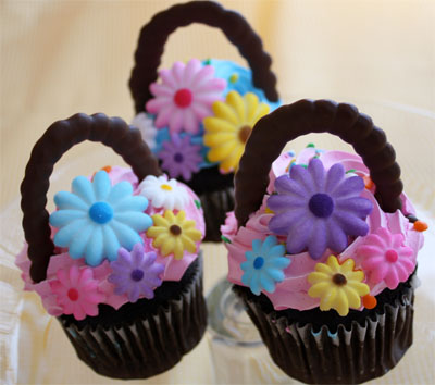 Spring flower basket cupcakes skip to my lou simply negle Images
