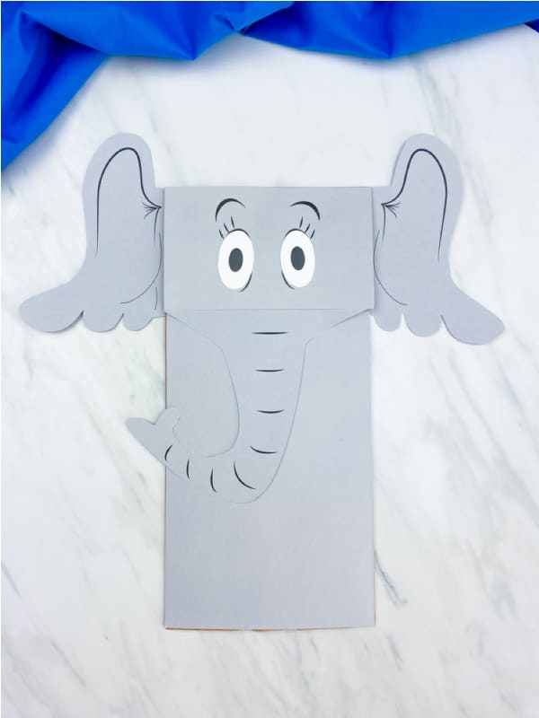 horton brown paper bag puppet, horton's face and body are free printables glued on to the paper bag