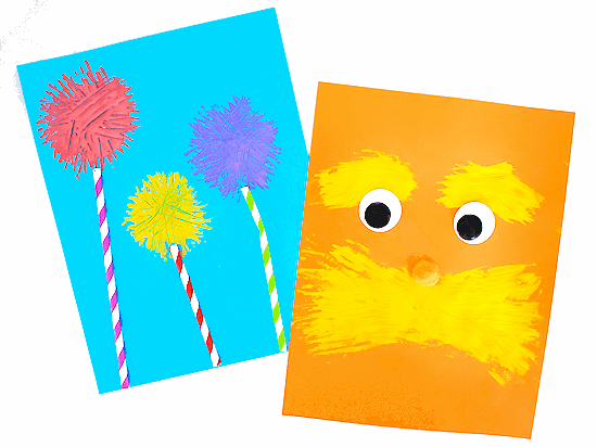 celebrate dr seuss with art - red, yellow and purple truffula flowers  painted by a fork on blue construction paper; and the lorax face painted with a fork in yellow paint on orange construction paper