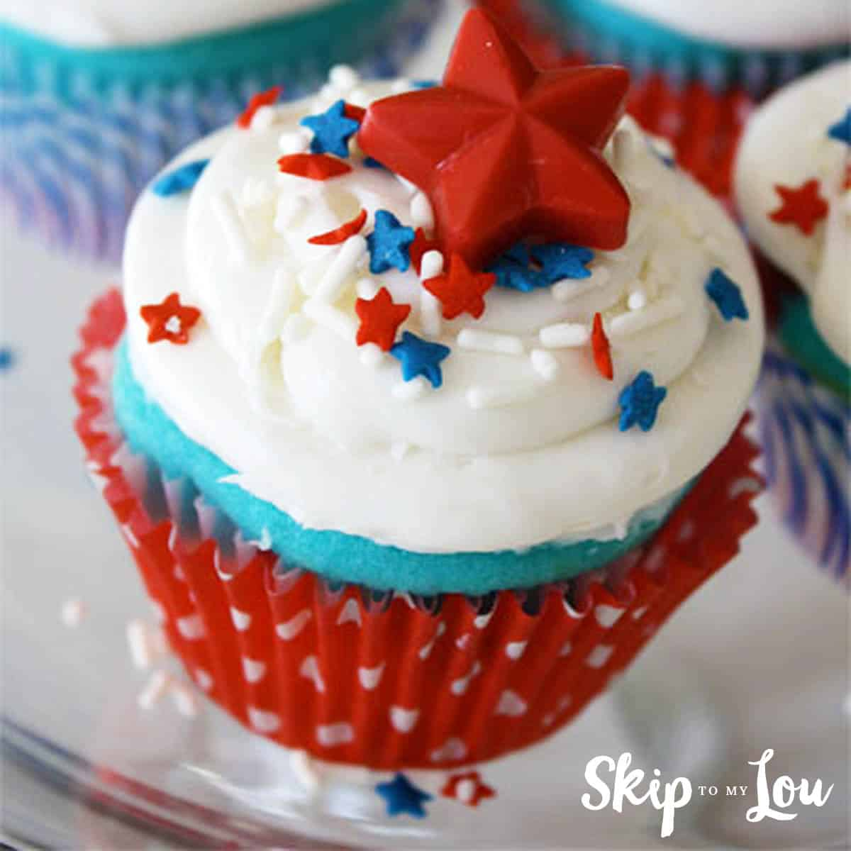Red White And Blue Cupcakes With Candy Star Cupcake Toppers