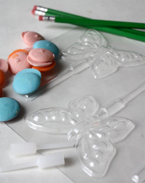 Chocolate butterfly pop supplies (candy molds, chocolate, pencils)
