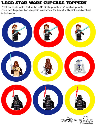 Printable Lego Starwars Cupcake Toppers Skip To My Lou