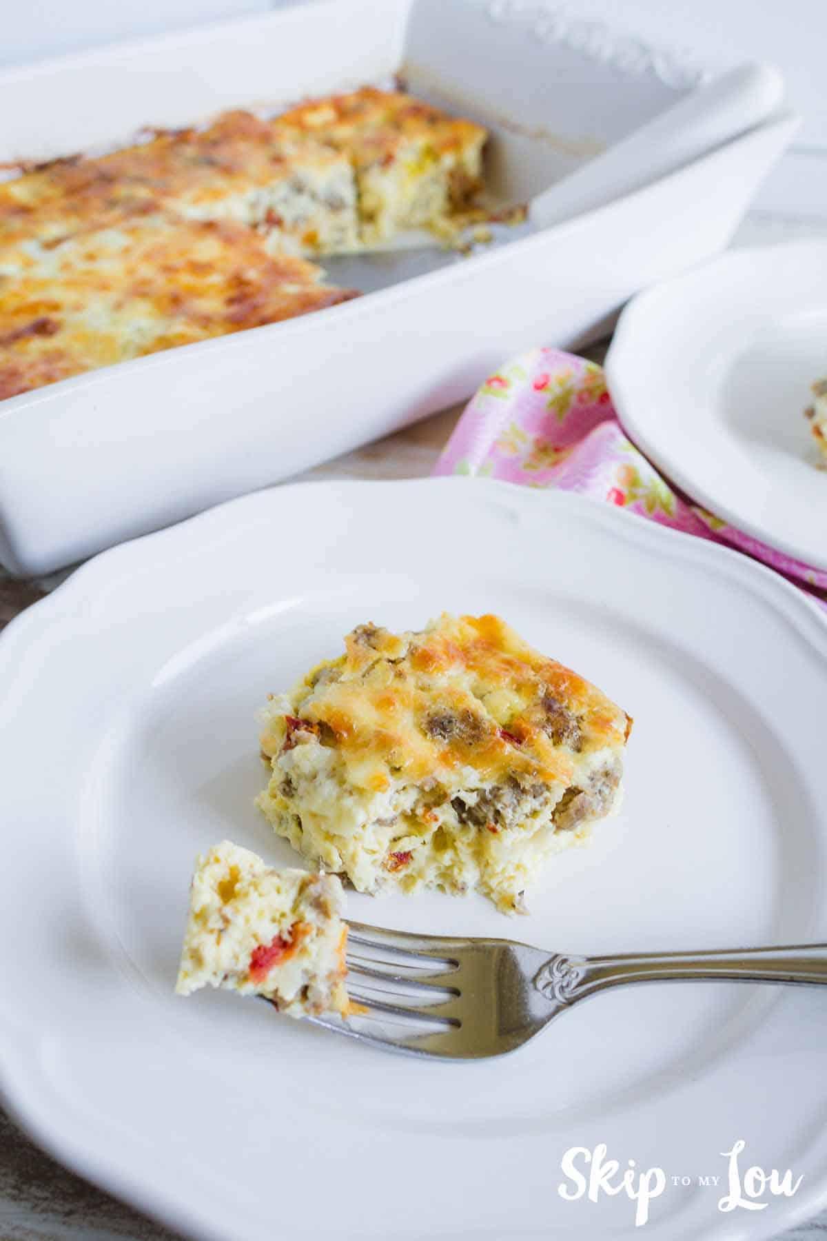 Breakfast Casserole on white plate