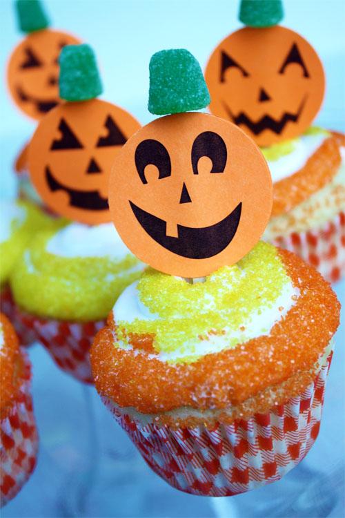 Free Printable Jack-o-lantern Cupcake Picks