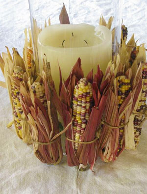 corn candle tablescape