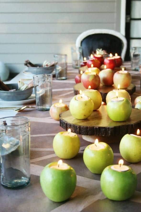 apple candle centerpiece